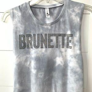 Brunette leopard graphic tie dye muscle tank top